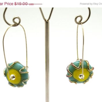 on sale 15% OFF Turquoise And Yellow Earrings - Glass Bead Jewelry - Beadwork Jewelry - Lampwork Jewelry - Contemporary Jewelry