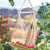 Striped Swinging Hanging Chair Hammock Outdoor Rope Swing Padded Cotton Canvas