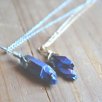 blue titanium plated crystal necklace  - all that glitters