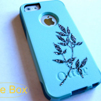 otterbox iphone 5/5s case, Iphone 5s case, Glitter case, gift, custom iphone 5 case,leaf  iphone 5 otterbox case