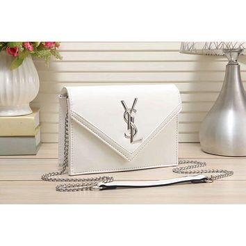 YSL Yves Saint Laurent Stylish Women Shopping Leather Metal Chain Crossbody Satchel Shoulder Bag(7-Color) White I-LLBPFSH
