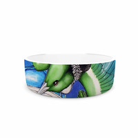 "Vinny Thompson ""New Zealand"" Teal Bird Pet Bowl"