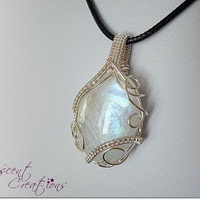 OOAK Moonstone necklace, wire wrapped rainbow moonstone, silver colored copper wire, black leather necklace, unique necklace for women