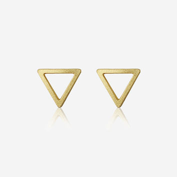 Hollow Triangle Post Earrings