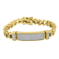 Stainless Steel ID Bracelet 14k Yellow Gold Finish Lab Diamonds Micro Pave 8.5""