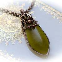 Copper necklace and pendant,  olive jade, light green copper necklace,  Wire Wrapped copper necklace