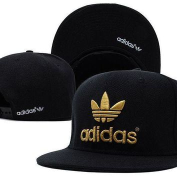ICIK2JE Embroidered Adidas Snapback Adjustable Flat Cap Black/Gold : One Size Fits Most