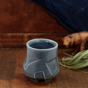 Etched Yunomi blue by Kelly Pottery