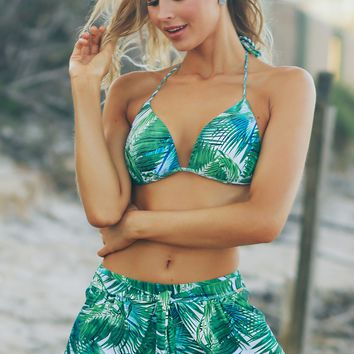 Wrap Leaf Print Shorts Green