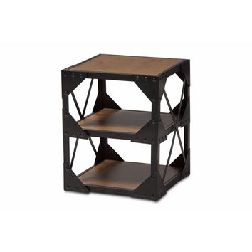 Antique Black Textured Finished Metal Distressed Wood Occasional Side Table -Baxton Studio