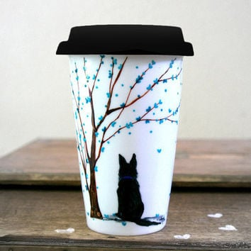 Custom Made Animal / Pet Travel Mug : Hand Painted - I Love My Pet (1 Animal)