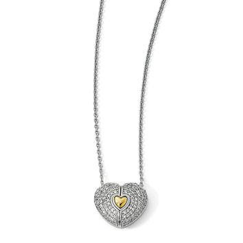 Sterling Silver 14k Gold Plated Cr White Sapphire Heart Necklace, 22in