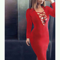 hollow out  tight dress-3