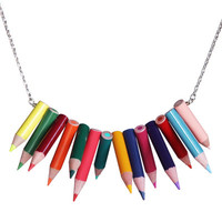 Stacked pointed colored pencil necklace