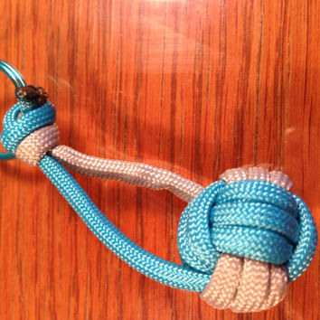 Volleyball Keychain Gift, Paracord Blue and Grey