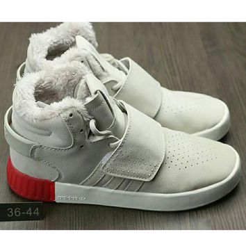 One-nice™ Adidas Originals Tubular Invader Strap Women Men Running Sport Casual Shoes Sneakers Grey(thick) I-HAOXIE-ADXJ