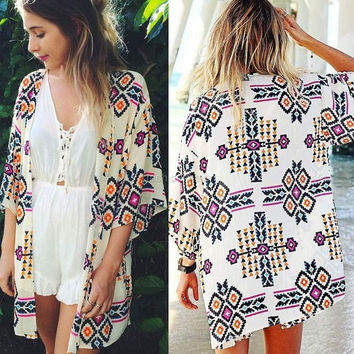 Sexy Women's 3/4 Sleeve Geometric Print Chiffon Cardigan Beach Loose-fitting Blouse Top Cover up = 1902085060