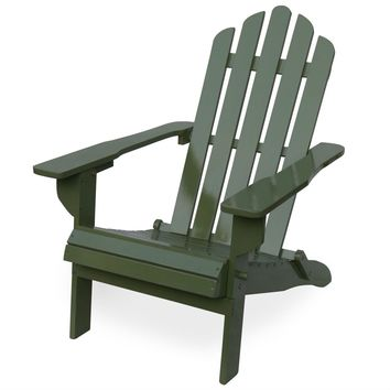Outdoor Weather Resistant Solid Wood Folding Adirondack Chair in Sage Green