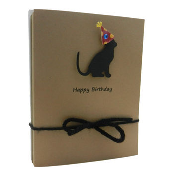 Birthday Cards - Dogs and Cats - Party Hats - Blank - Kraft - Handmade - 10 Pack