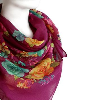 BUY ANY 3 GET 1 OF THEM FREE, large scarf, unique scarf, cotton scarf, light soft scarf, gift for mom, fuchsia scarf, square scarf, gift for wife, girlfriend gift