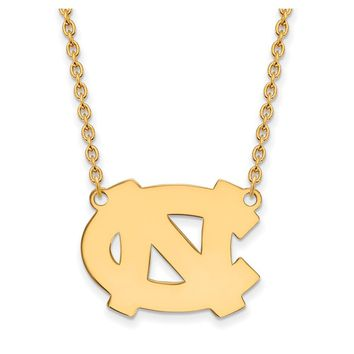 NCAA 14k Gold Plated Silver North Carolina LG 'NC' Pendant Necklace