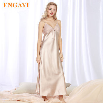 ENGAYI Brand Long Women Summer Night Dress Plus Size Sexy Lace Nightgown Silk Satin Nightdress Night Gown Nightwear CQ311