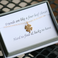Four leaf clover necklace,shamrock necklace, Gold shamrock,Best friend gift,St Patricks Day gift,sisterhood,birthday gift