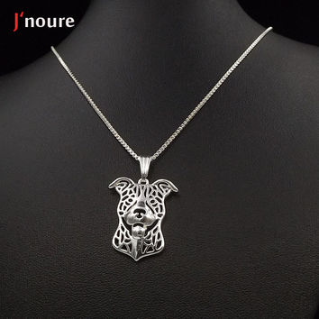 Pitbull Silver Plating For Pet Lovers Dog Animal Charms necklace&pendant Gift For Women female ladies girls A176S