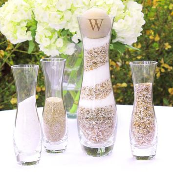Personalized Rustic Unity Sand Ceremony 4pc Set