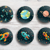 Cosmic space fridge magnets pin badge buttons