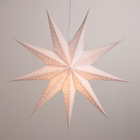 White Glitter 9-Point Star Paper Lantern - World Market