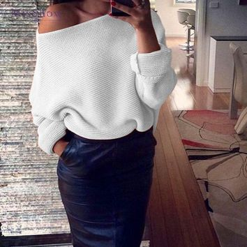MisShow Autumn Sexy Off Shoulder White Women Sweaters 2018 Ladies Jumper Slash Neck Long Sleeve Pullover Loose Casual Knitwear