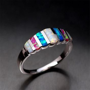 Rainbow Natural Opals Rings for Princess Women Girls Wedding Engagement Silver Plated Finger Rings Jewelry