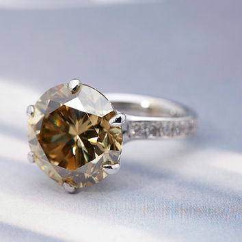 3 carat Dark Yellow Moissanite Engagement Ring-Vintage Antique moissanite ring-wedding Rings For Women-Diamond solitaire - Anniversary ring