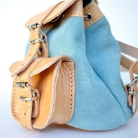 Petite Two Toned Nude/Aqua Leather Backpack