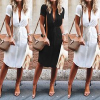 Fashion Summer Button Down Short Mini Dress Lace Up Loose Beach Short Sleeve Casual Dress Women Party Dress Vestido de festa