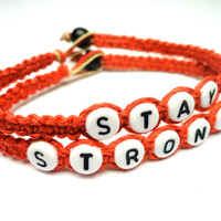 Stay Strong Bracelet Set, Red Hemp Jewelry, Recovery Bracelet, Made to Order