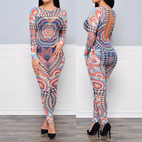 Multicolor Vintage Print Backless Long Sleeve Jumpsuit