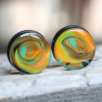 "1"" Ear Gauges, Polymer Clay Plugs, Art Gauges, Large Plugs, Single Flare, Modified Ears - size 1 inch (25mm)"