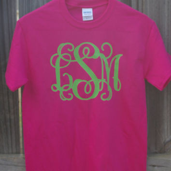 Short Sleeve Large Vinyl Monogram T-Shirt Womens