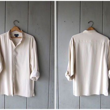 Creamy White SILK Blouse 90s Shirt Button Up Pocket Shirt Minimal Long Sleeve Collarless Shirt 1990s Modern Vintage Mens Medium