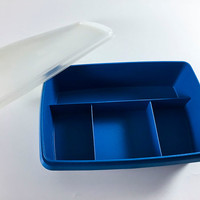 Vintage Tupperware Tuppercraft Blue Stow N Go Plastic Kitchen Craft Jewelry Storage With Lid