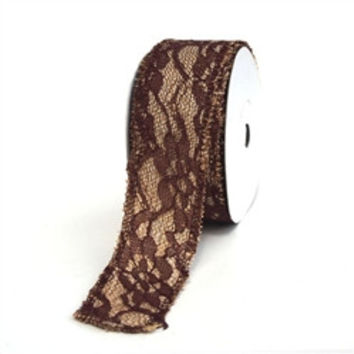 Faux Burlap and Lace Ribbon, 1-1/2-inch, 10-yard, Brown