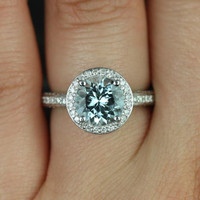 Ellen 8mm 14kt White Gold Round Aquamarine and Diamonds Pave Halo Engagement Ring (Other metals and stone options available)
