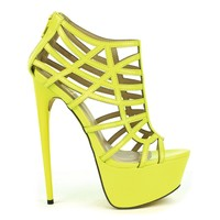 Fahrenheit Vicky-15 Cut-out Strappy Platform Pump in Lime @ ippolitan.com