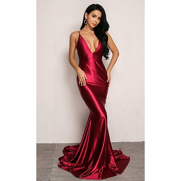 Silky Sweet Satin Sleeveless Spaghetti Strap Plunge V Neck Backless Mermaid Maxi Dress - 3 Colors Available