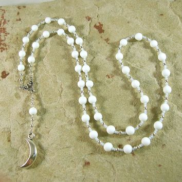 Khonsu Prayer Bead Necklace in Alabaster: Egyptian God of the Moon