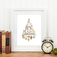 Holiday Wall Art Printable Merry Christmas Home Decor Xmas Tree Typographic Print Retro Vintage style DIY Christmas Decor Digital Download