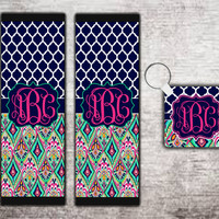 Custom Monogrammed Personalized Seat Belt Cover + Matching Key Chain. Lily inspired Crown Jewels Demask Car Accessories Seat Belt Pad #1104