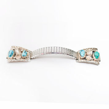 Vintage 60s Watch Band - Sterling Silver & Turquoise Southwest Native Jewelry 925 Sz 7